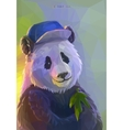 Cool panda rapper in polygonal style vector image vector image