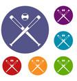 crossed baseball bats and ball icons set vector image vector image
