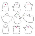 cute ghosts with smiley face on white background vector image