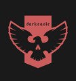 eagle skull emblem symbol on a dark background vector image vector image