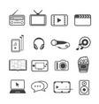 entertainment icons set on texture background vector image vector image