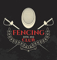 Fencing club label template vector image