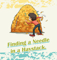 Finding a needle in a haystack vector image