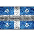 Flag of Quebec on a brick wall vector image