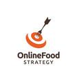 food strategy with dartboard fork logo design vector image vector image