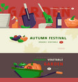 for autumn festival gardening tools and vegetables vector image vector image