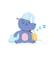 funny baby hippo character in a hat sleeping on a vector image vector image