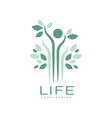 green life logo with leaves and abstract human vector image vector image