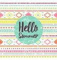 hello summer lettering with ethnic pattern vector image vector image