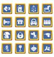 kindergarten icons set blue square vector image