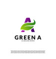 letter a with leaf logo template green initial a vector image vector image