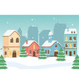 new year greeting card houses town street lamps vector image