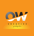 ow o w letter modern logo design with yellow vector image vector image