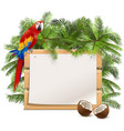palm tree with wooden board vector image