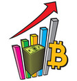 positive business graph with arrow and bitcoin sig vector image