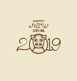 postcard for the new year of the wild boar vector image vector image