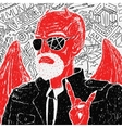 Red Devil Biker in Jacket vector image