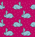 seamless pattern with hand-drawn lovely hares vector image