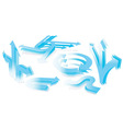 set 3d blue arrows vector image vector image