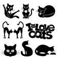 set of black cats vector image vector image