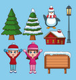 set of winter cartoons vector image