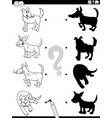 shadow game with cartoon cats coloring book page vector image vector image