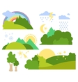 Summer Forest Flat Background Set vector image vector image