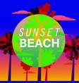 sunset beach flyer baner invitation tropical vector image vector image