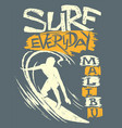 surfer and big wave t-shirt design vector image vector image