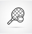 tennis ball and racket black icon eps10 vector image