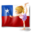 The flag of Chile and the young ballet dancer vector image vector image