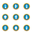 thorn shrub icons set flat style vector image vector image