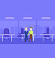 two business men handshake over silhouette office vector image