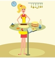 Woman baking cake in kitchen vector image