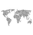 worldwide map collage of query icons vector image