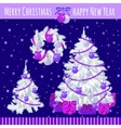Poster with two Christmas trees and wreath vector image