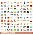 100 travel icons set flat style vector image vector image