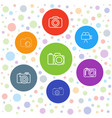 7 photographing icons vector image vector image