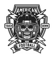 american football skull emblem isolated on white vector image vector image