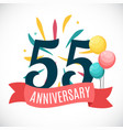 Anniversary 55 years template with ribbon vector image