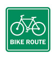 bike route sign vector image vector image