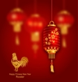 Blurred Background with Red Lanterns and Rooster vector image