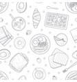 breakfast menu hand drawn seamless pattern vector image