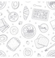 breakfast menu hand drawn seamless pattern with vector image vector image