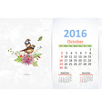 Calendar for 2016 October vector image vector image