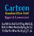 cartoon handwritten font uppercase and lowercase vector image