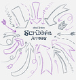 Collection of scribble arrows hand-drawn on a vector image vector image