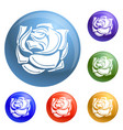 decorative rose icons set vector image