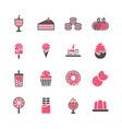 dessert icon set in flat design vector image
