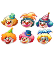 Different faces of a clown vector image vector image